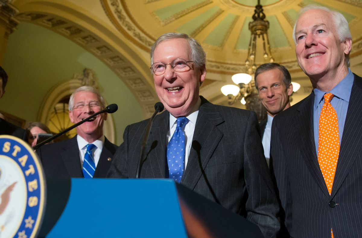 In this Tuesday, Feb. 23, 2016 photo, Senate Majority Leader Mitch McConnell, R-Ky., center, smiles and speaks to reporters as he is joined by, from right to left, Majority Whip John Cornyn, R-Texas, Sen. John Thune, R-S.D., and Sen. Roger Wicker, R-Miss., following a closed-door policy meeting on Capitol Hill in Washington.  Before President Barack Obama has chosen a nominee, nearly all the Senate's majority Republicans seem dug in against even meeting that person. (AP Photo/J. Scott Applewhite) (AP)