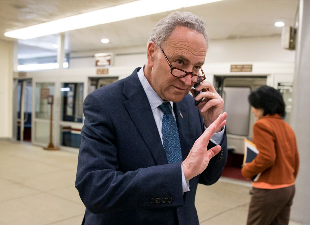 Sen. Chuck Schumer, D-N.Y., a member of the Democratic leadership who also serves on the Judiciary Committee, walks to the Senate on Capitol Hill in Washington, Monday, Feb. 22, 2016. Senators were returning to Washington Monday from a weeklong recess that saw the Justice Antonin Scalia's unexpected passing inject a new issue into this election year.  (AP Photo/J. Scott Applewhite) (AP)