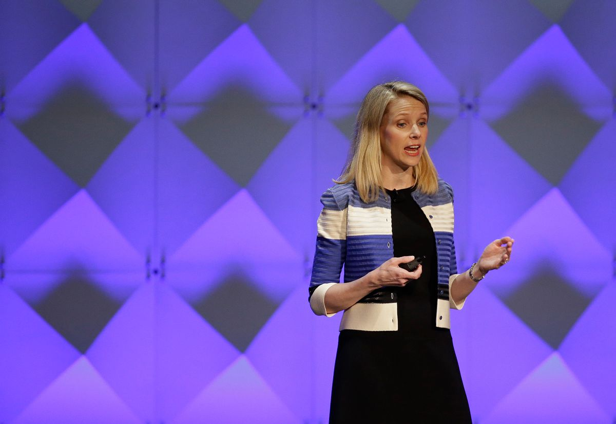 Yahoo CEO Marissa Mayer delivers the keynote address Thursday, Feb. 18, 2016, at the Yahoo Mobile Developer Conference in San Francisco. (AP Photo/Eric Risberg) (AP)