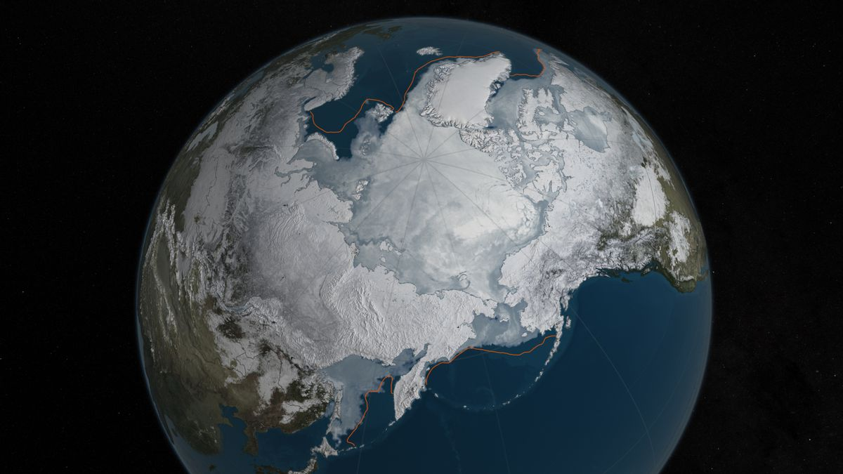 This image provided by NASA shows Arctic sea ice at it maximum, the lowest on record. The winter maximum level of Arctic sea ice shrank to the smallest on record, thanks to extraordinarily warm temperatures, federal scientists said. The National Snow and Ice Data Center says sea ice spread to a maximum of 5.607 million square miles in 2016. That's 5,000 square miles less than the old record set in 2015, a difference slightly smaller than the state of Connecticut. NASA via AP) (NASA via AP)