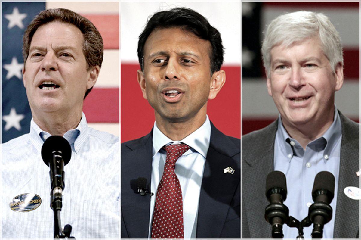 Sam Brownback, Bobby Jindal, Rick Snyder   (AP/Reuters/Charlie Riedel/Brian Snyder/Rebecca Cook)