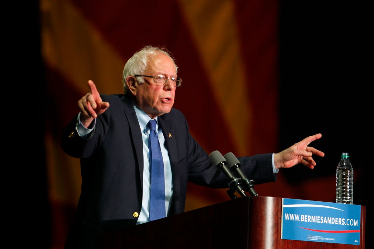 Democratic presidential candidate, Sen. Bernie Sanders, I-Vt., speaks at a campaign rally at the Phoenix Convention Center in Phoenix, Tuesday, March 15, 2016. (AP Photo/Ricardo Arduengo) (AP)