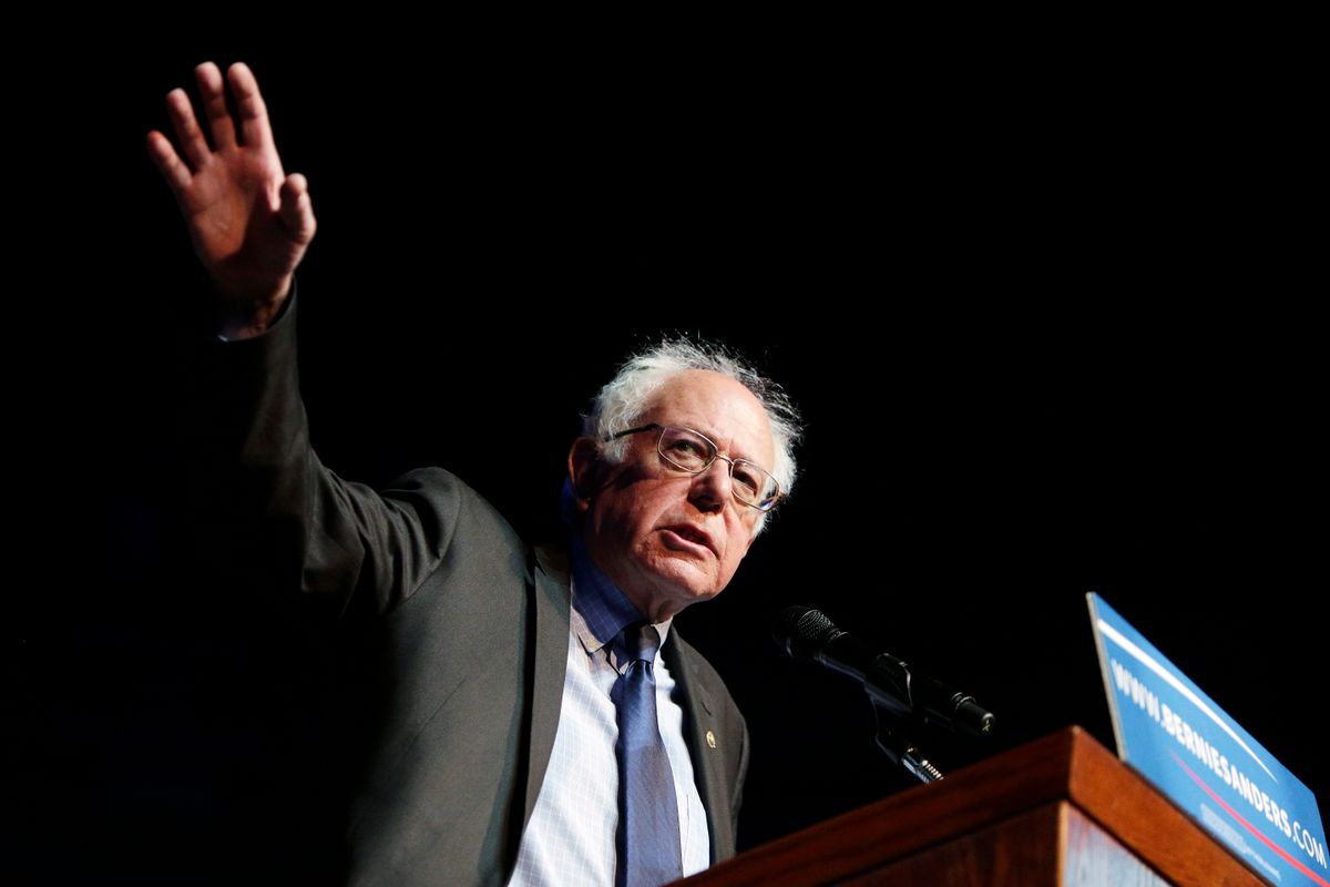 Democratic presidential candidate Sen. Bernie Sanders, I-Vt., speaks at a campaign rally in Spokane, Wash., Thursday, March 24, 2016. (AP Photo/Young Kwak) (AP)