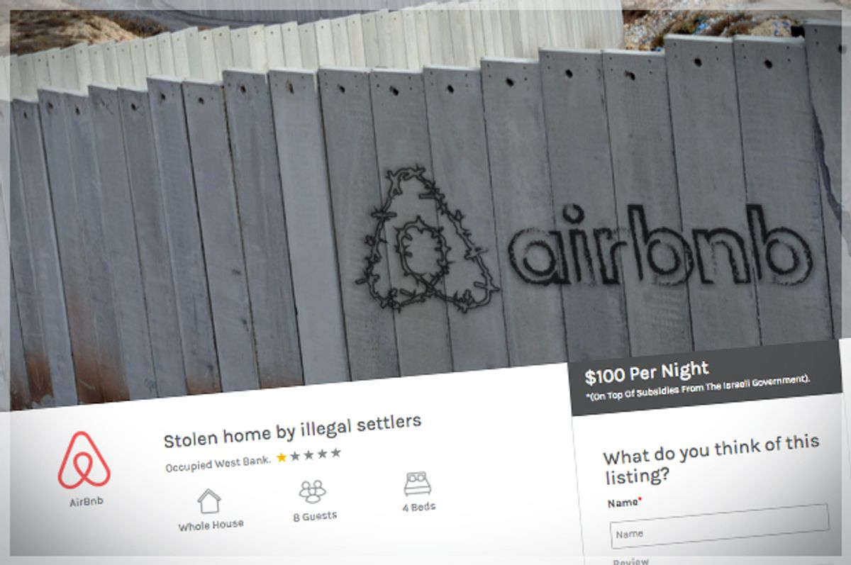 A screenshot of the parody Airbnb site, created by the activist groups (SumOfUs.org)