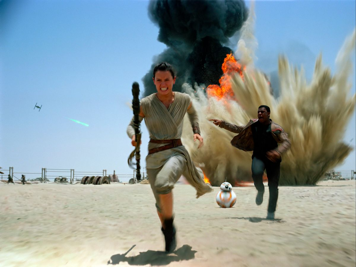 """This photo provided by Disney shows Daisey Ridley as Rey, left, and John Boyega as Finn, in a scene from the new film, """"Star Wars: The Force Awakens."""" The film will be available for purchase on Digital HD beginning on April 1, and on Blu-ray and DVD on April 5.  (Disney/Lucasfilm via AP) (AP)"""