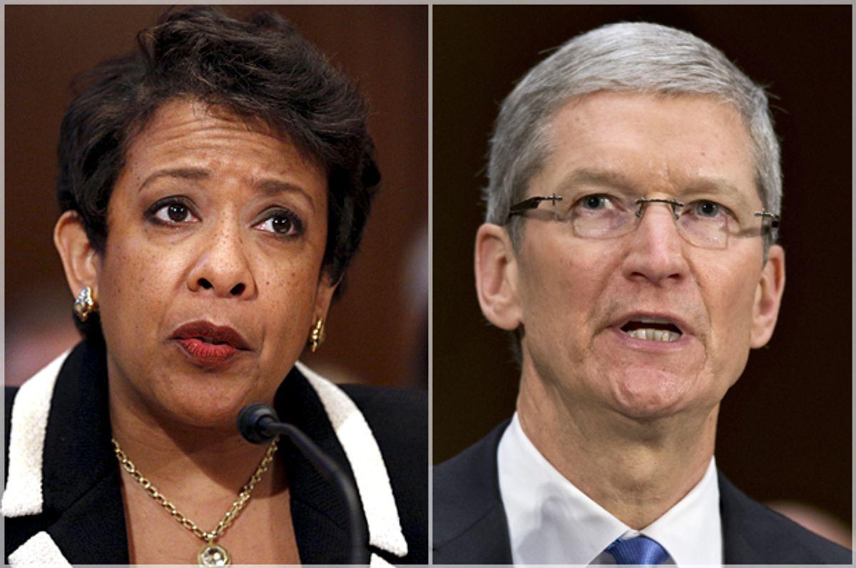 Loretta Lynch, Tim Cook   (Reuters/Carlos Barria/AP/J. Scott Applewhite)