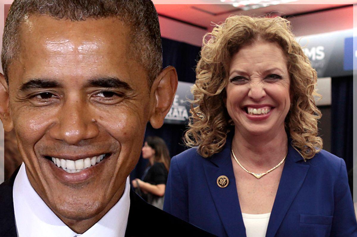 Barack Obama, Debbie Wasserman Schultz   (Reuters/Javier Galeano)