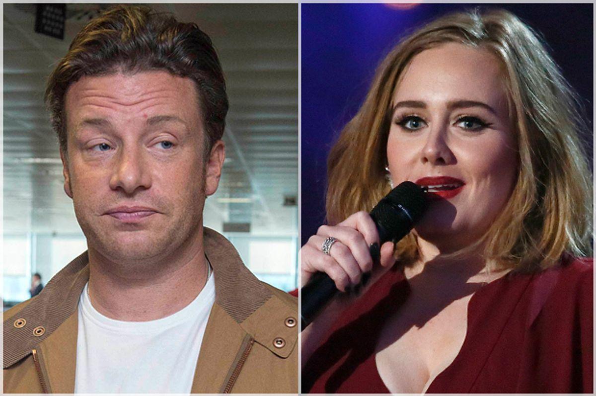 Jamie Oliver, Adele   (AP/Star Max/Reuters/Stefan Wermuth)