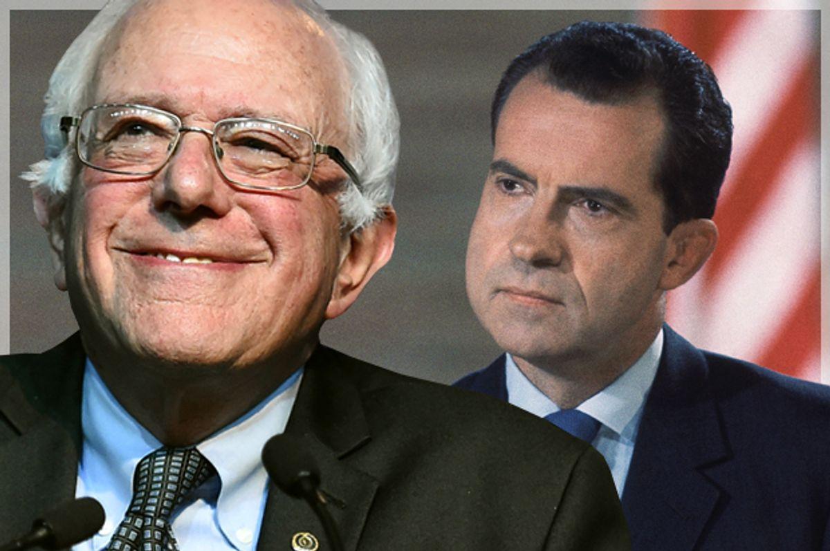 Bernie Sanders, Richard Nixon   (Reuters/Craig Lassig/AP/Photo montage by Salon)