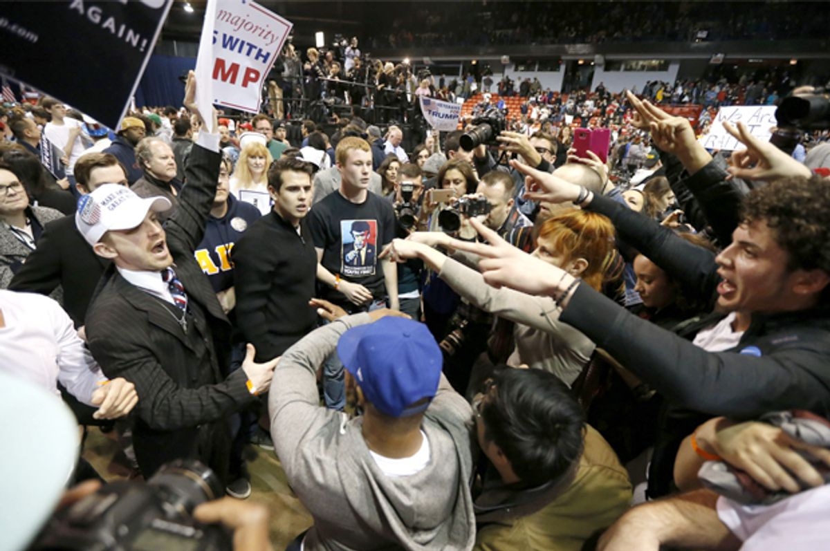 Trump Supporters face off with protesters in Chicago (AP/Charles Rex Arbogast)