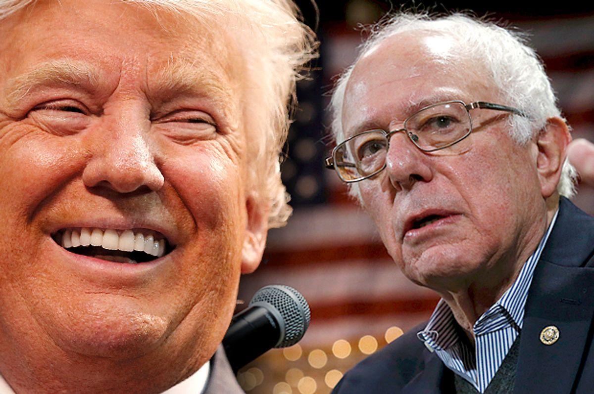 Donald Trump, Bernie Sanders   (Reuters/Chris Keane/Jim Young/Photo montage by Salon)