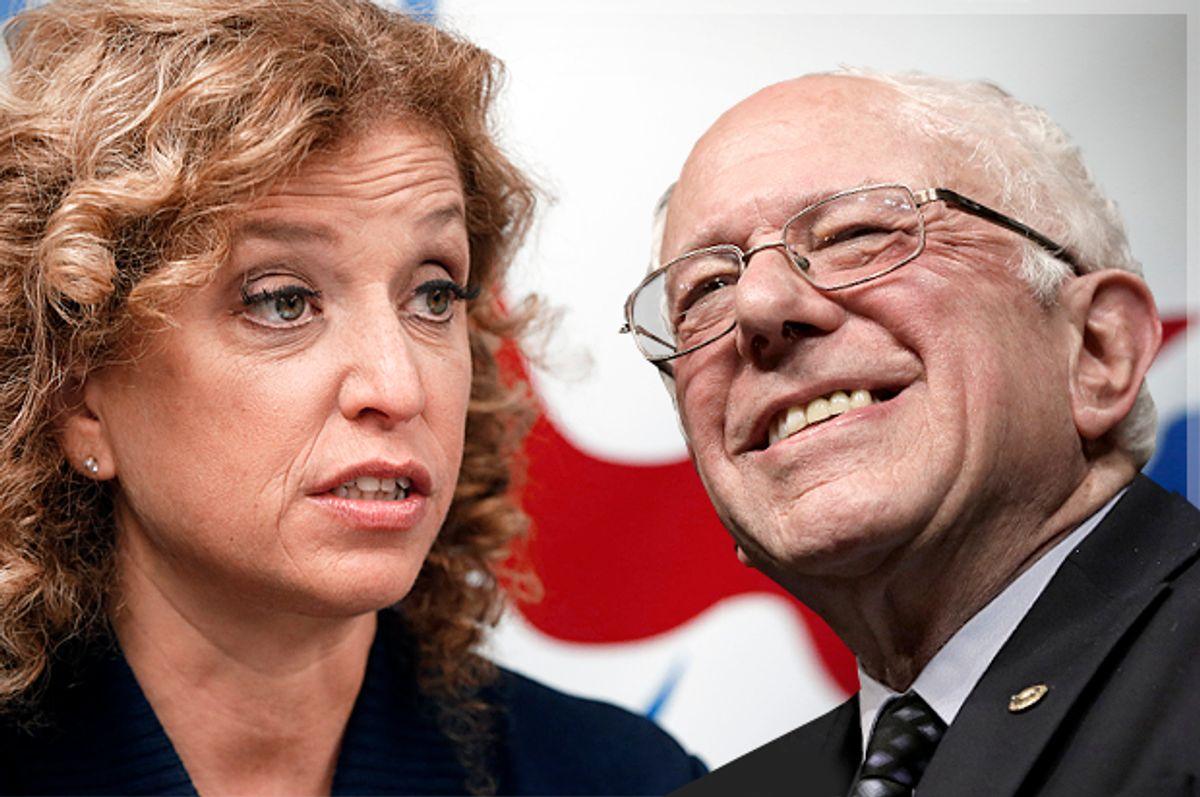 Debbie Wasserman Schultz, Bernie Sanders   (AP/Keith Srakocic/Alan Diaz/Photo montage by Salon)