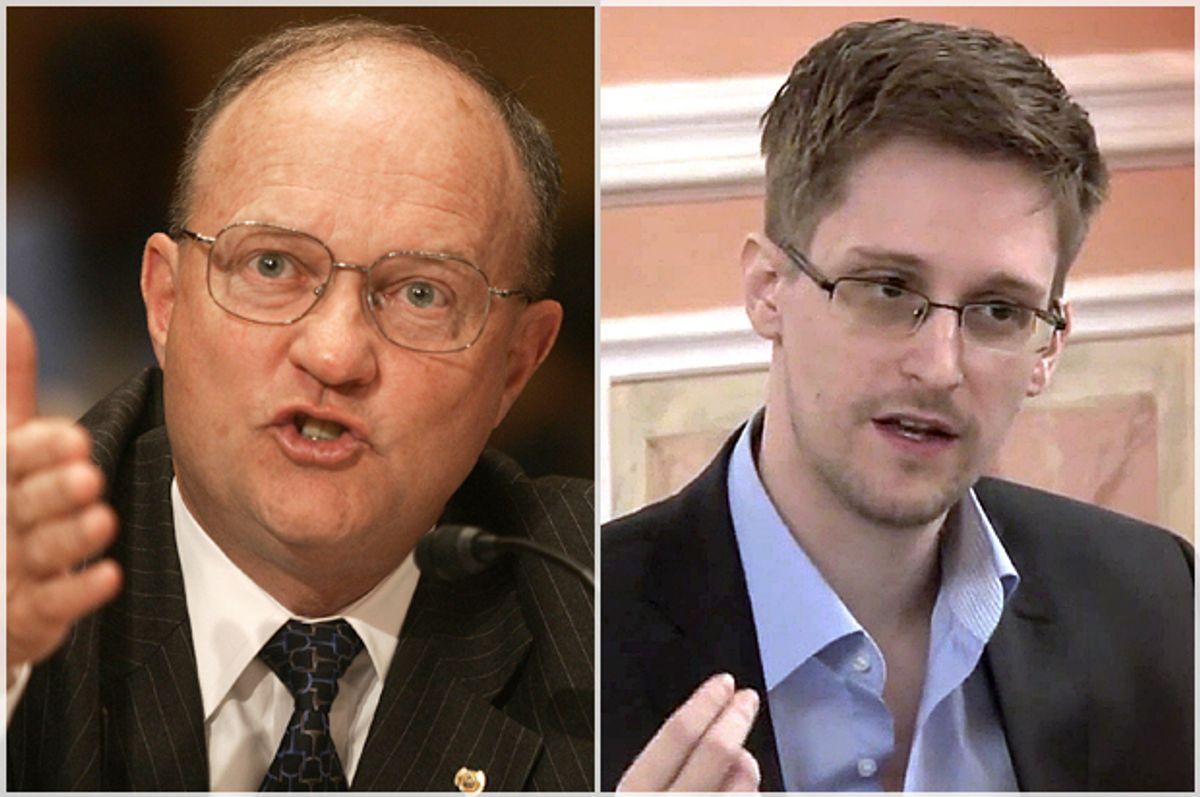 Lawrence Wilkerson, Edward Snowden    (AP/Lawrence Jackson)
