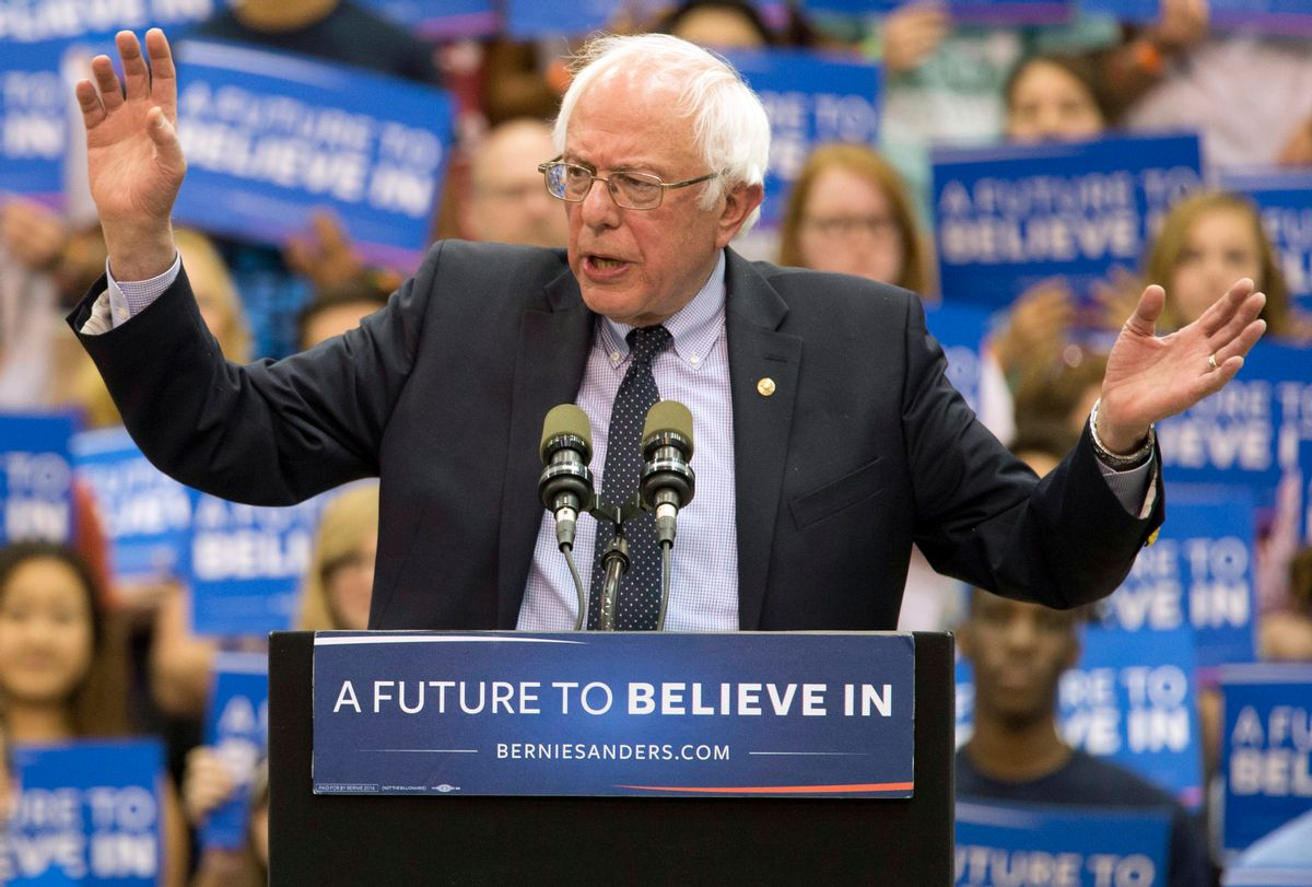 Democratic presidential candidate Sen. Bernie Sanders, I-Vt., speaks during a campaign rally at Penn State University, Tuesday, April 19, 2016 in State College, Pa. (AP Photo/) (AP/Mary Altaffer)