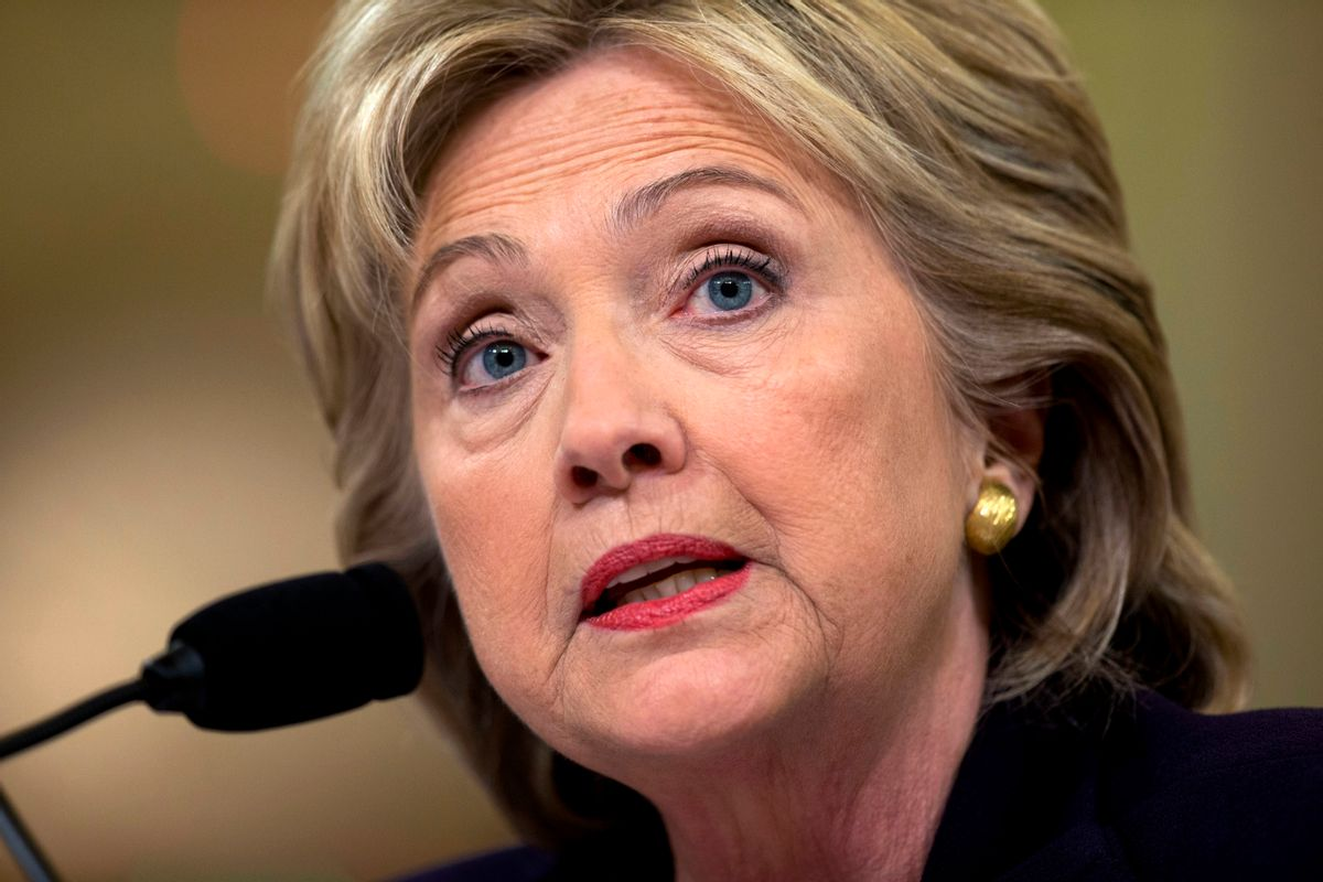 FILE - In this Oct. 22, 2015 file photo, former Secretary of State Clinton testifies on Capitol Hill in Washington. Lawyers for the State Department have asked a federal judge to limit the scope of testimony about Hillary Clinton's use of a private email account as secretary of state.   (AP Photo/) (AP/Carolyn Kaster, File)