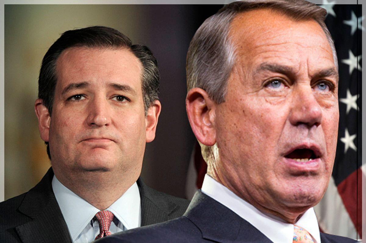 Ted Cruz, John Boehner   (Reuters/Charles Mostoller/Joshua Roberts/Photo montage by Salon)