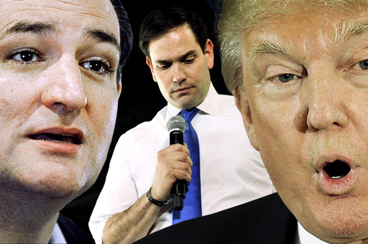 Ted Cruz, Marco Rubio, Donald Trump   (AP/Reuters/Pat Sullivan/Steve Nesius/Brian Snyder/Photo montage by Salon)