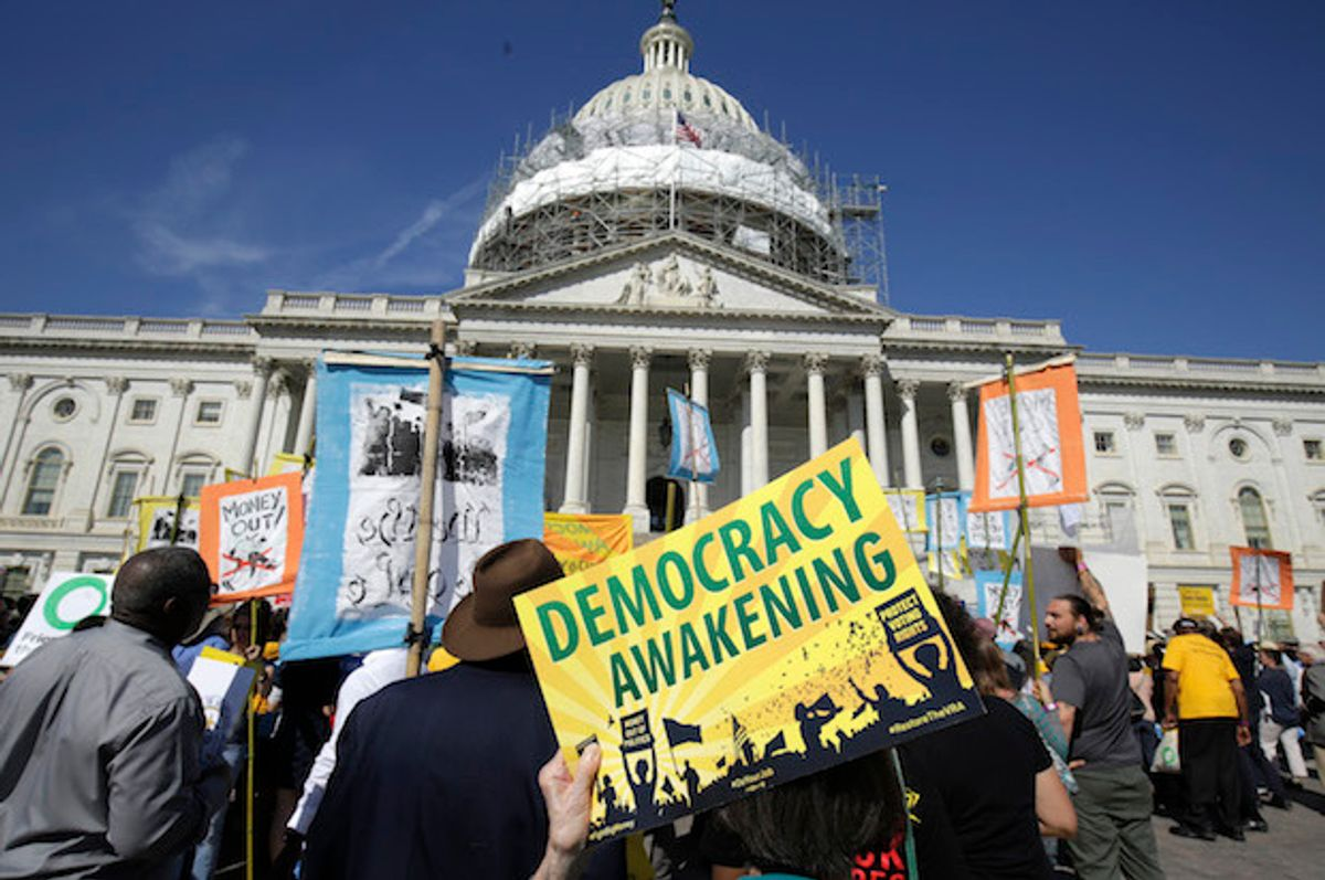 Democracy Spring and Democracy Awakening protesters rally in front of the U.S. Capitol in Washington, D.C. on April 18, 2016  (Reuters/Joshua Roberts)