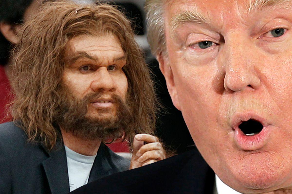 Donald Trump, Caveman. (Reuters/Nati Harnik/AP/John Raoux/Photo montage by Salon)
