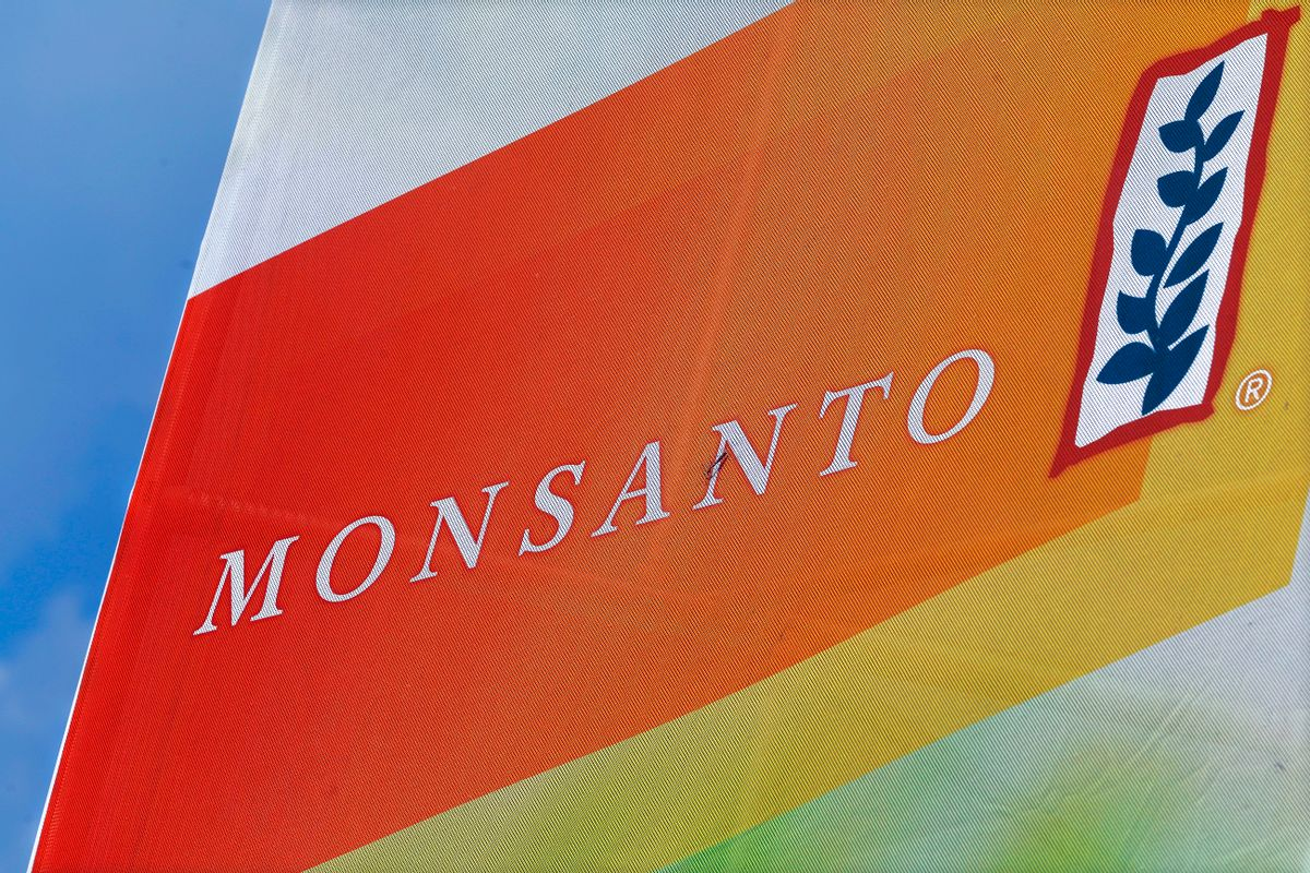 FILE - This Monday, Aug. 31, 2015, file photo, shows the Monsanto logo at the Farm Progress Show in Decatur, Ill. On Wednesday, April 6, 2016, Monsanto reports financial earnings. (AP Photo/Seth Perlman, File) (AP)