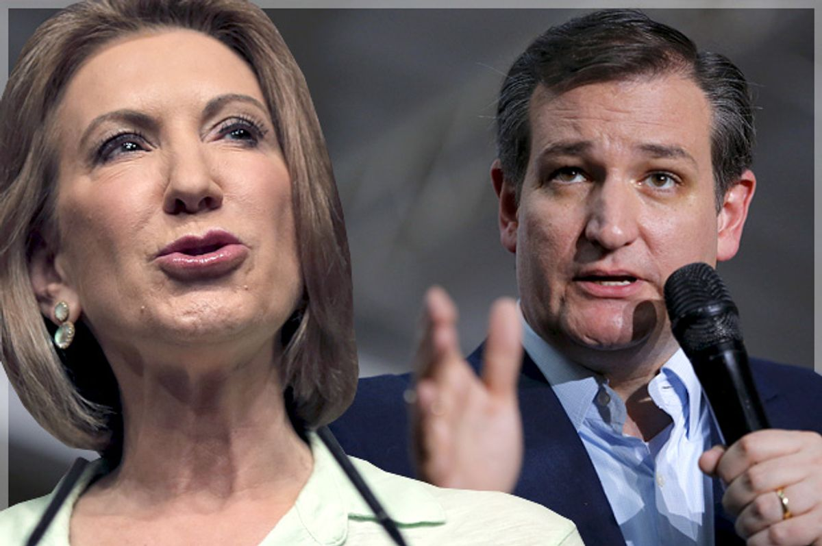 Carly Fiorina, Ted Cruz   (Reuters/Carlos Barria/Aaron Bernstein/Photo montage by Salon)