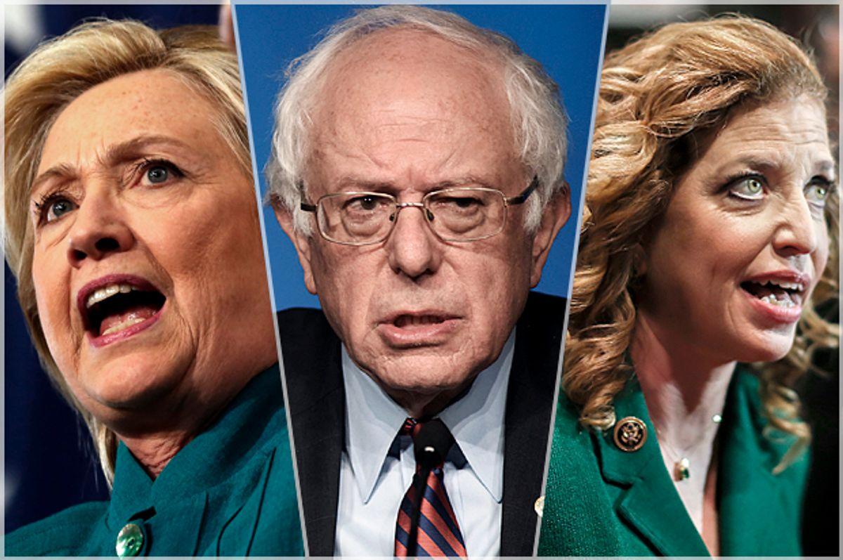 Hillary Clinton, Bernie Sanders, Debbie Wasserman Schultz   (AP/Reuters/Jim Young/Mark Kauzlarich/Stephen B. Morton)
