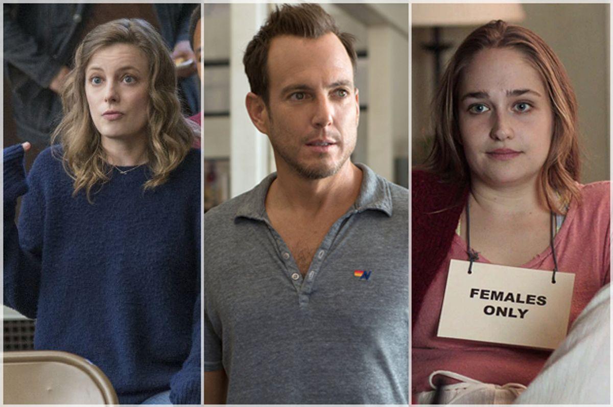 "Gillian Jacobs in ""Love,"" Will Arnett in ""Flaked,"" Jemima Kirke in ""Girls"" (Netflix/HBO)"