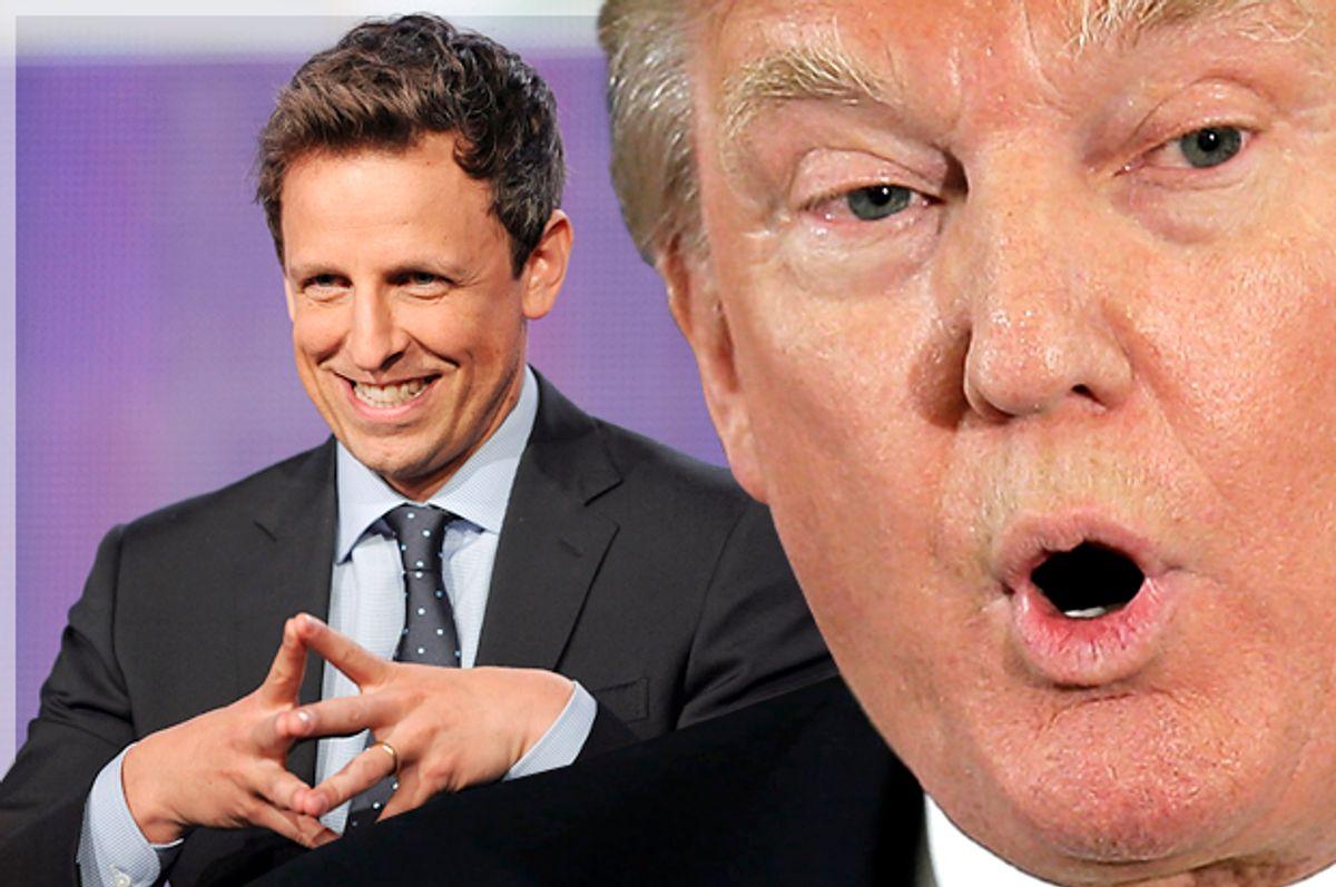 Seth Meyers, Donald Trump   (Reuters/Gus Ruelas/Brian Snyder/Photo montage by Salon)