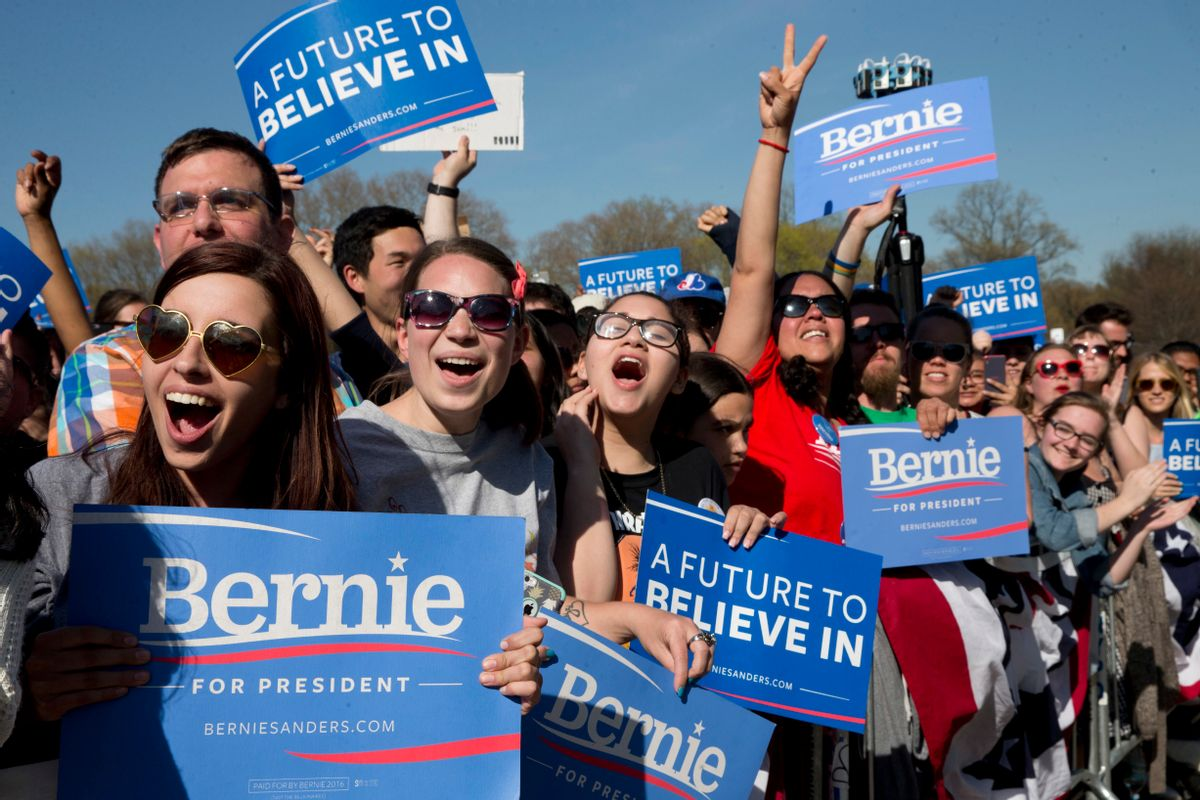 FILE - In this April 17, 2016 file photo, supporters cheer as Democratic presidential candidate Bernie Sanders speaks during a campaign rally in Brooklyn's Prospect Park, in the Brooklyn borough of New York. New York City's Board of Elections, long a target of complaints, came under fire as followers of Bernie Sanders, many from Sanders' hometown borough of Brooklyn, said they were unable to vote in the Democratic primary. The New York Board of Elections has suspended its chief clerk in Brooklyn without pay amid questions into whether she followed proper procedures in what was supposed to be a routine housecleaning of voter registration lists. (AP Photo/Mary Altaffer, File) (AP)