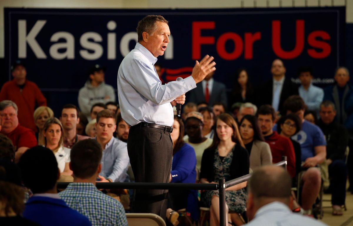 Republican presidential candidate, Ohio Gov. John Kasich speaks during a town hall at Penn State Brandywine Campus. (AP)