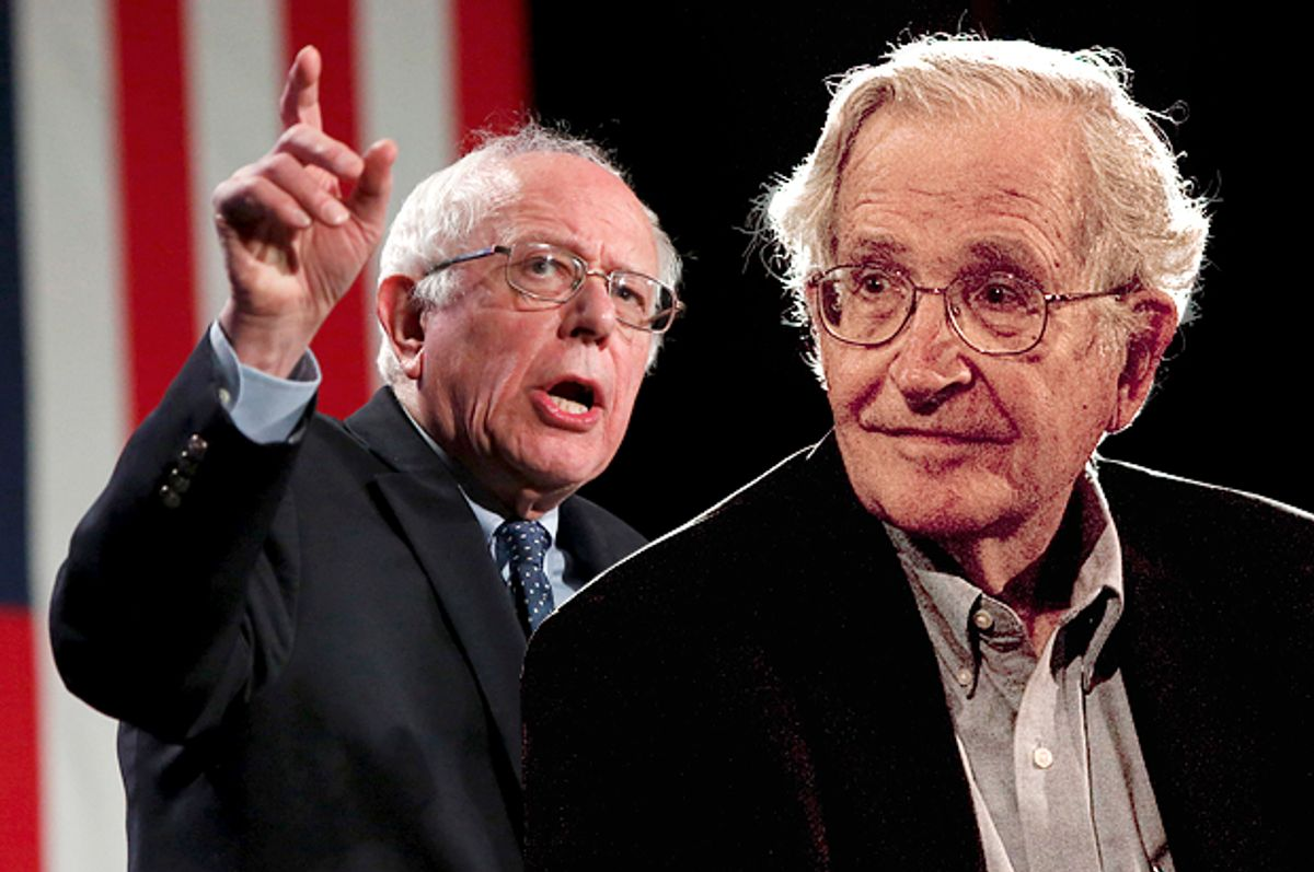 Bernie Sanders, Noam Chomsky   (Reuters/Shannon Stapleton/Jorge Dan/Photo montage by Salon)