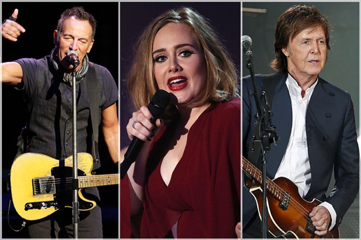 Bruce Springsteen, Adele, Paul McCartney   (AP/Reuters/Robb D. Cohen/Joel Ryan/Benoit Tessier)