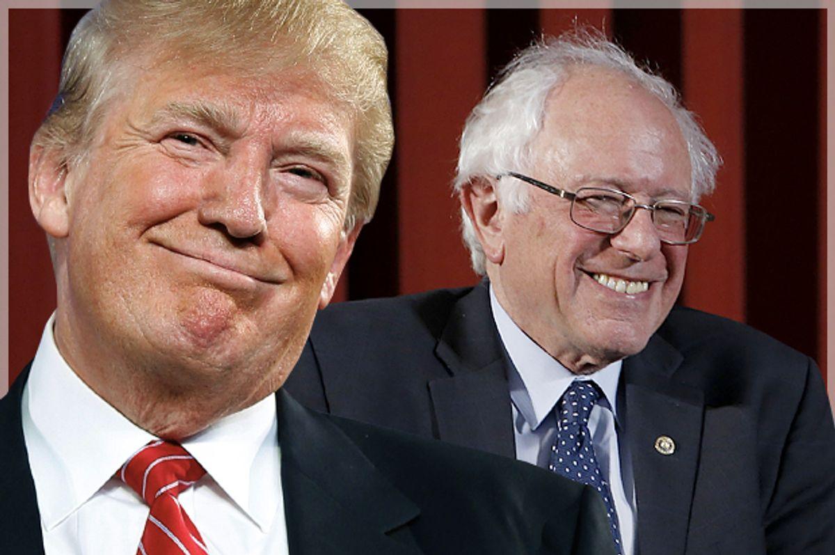 Donald Trump, Bernie Sanders   (AP/Reuters/Andrew Harnik/Matt Rourke/Photo montage by Salon)