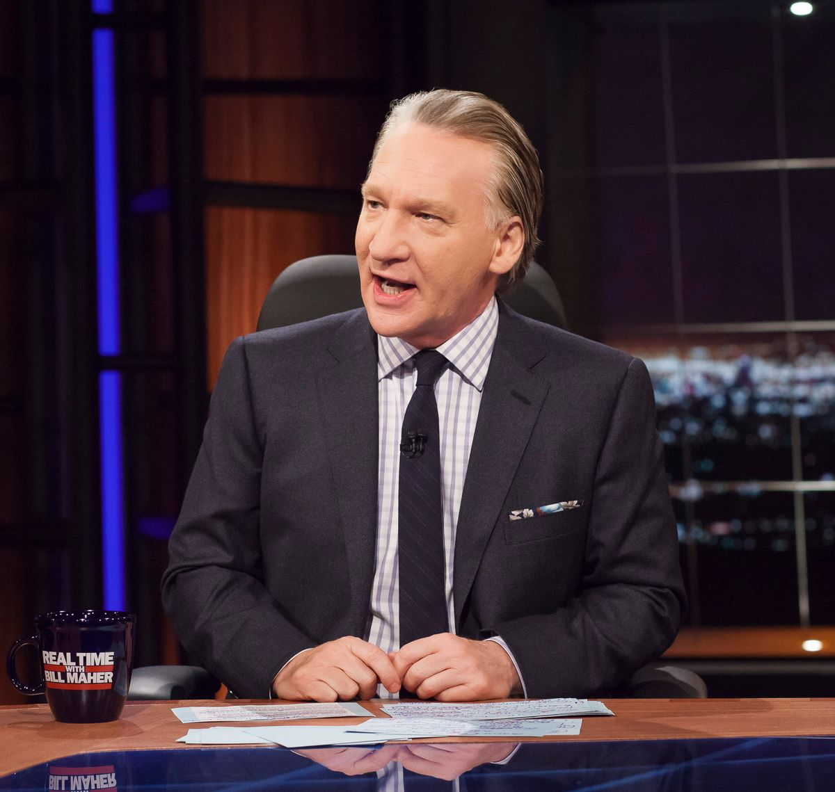 """This April 8, 2016 photo released by HBO shows Bill Maher, host of """"Real Time with Bill Maher,"""" during a broadcast of the show in Los Angeles. Since premiering 13 years ago, Maher has provided an essential forum for smart discussion about politics and culture, with his opening monologue often the sharpest, best-crafted topical humor on television. (Janet Van Ham/HBO via AP) (AP)"""