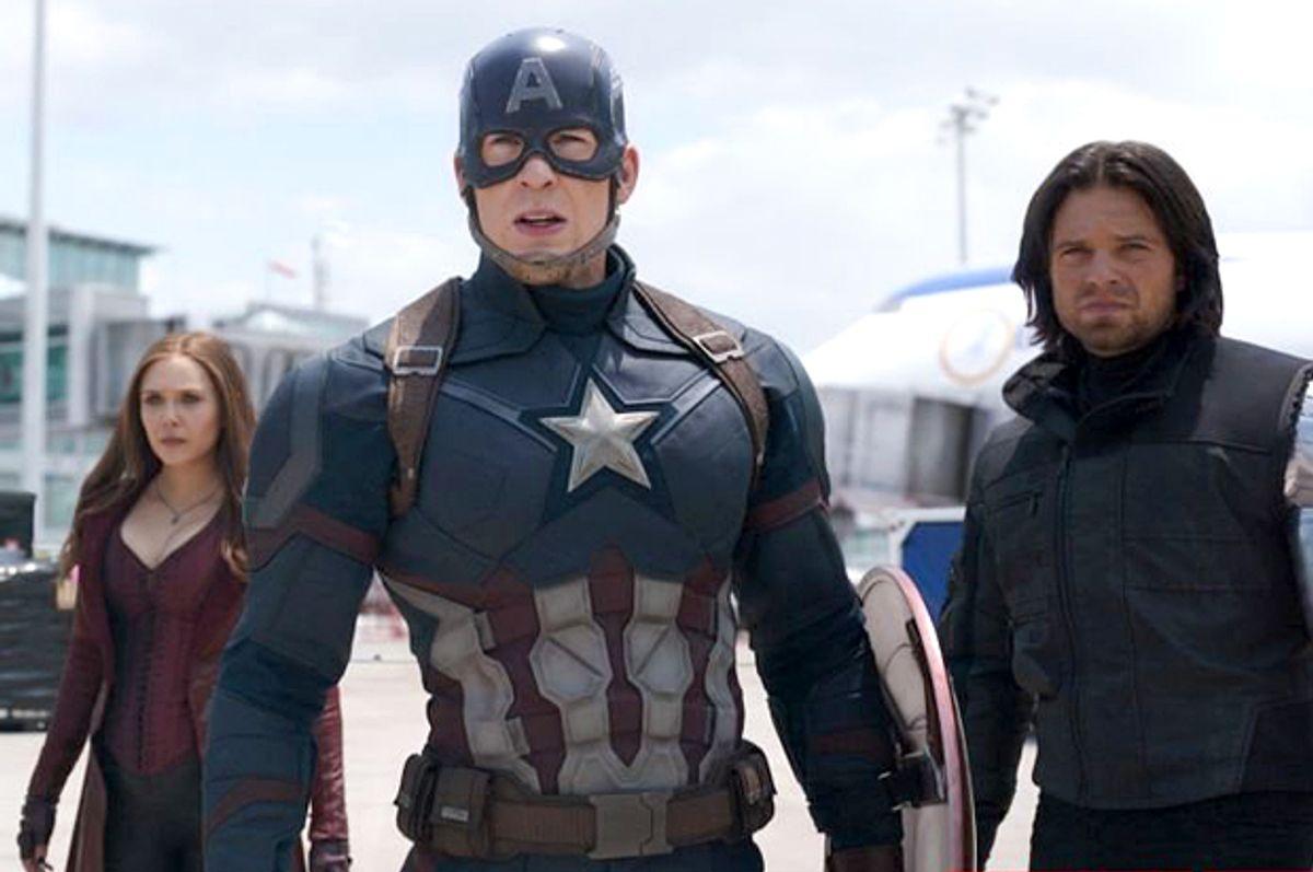 """Elizabeth Olsen, Chris Evans and Sebastian Stan in """"Captain America: Civil War""""   (Marvel)"""