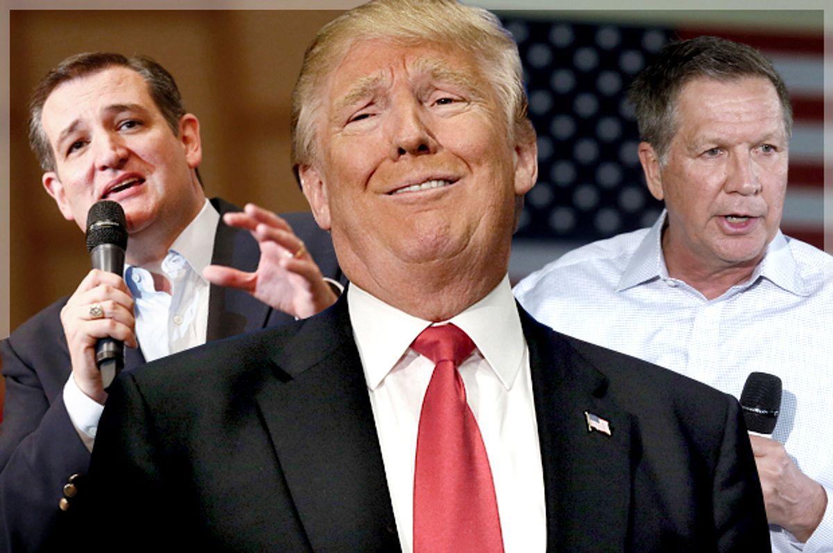 Ted Cruz, Donald Trump, John Kasich   (AP/Reuters/Jason Miczek/LM Otero/Rebecca Cook/Photo montage by Salon)