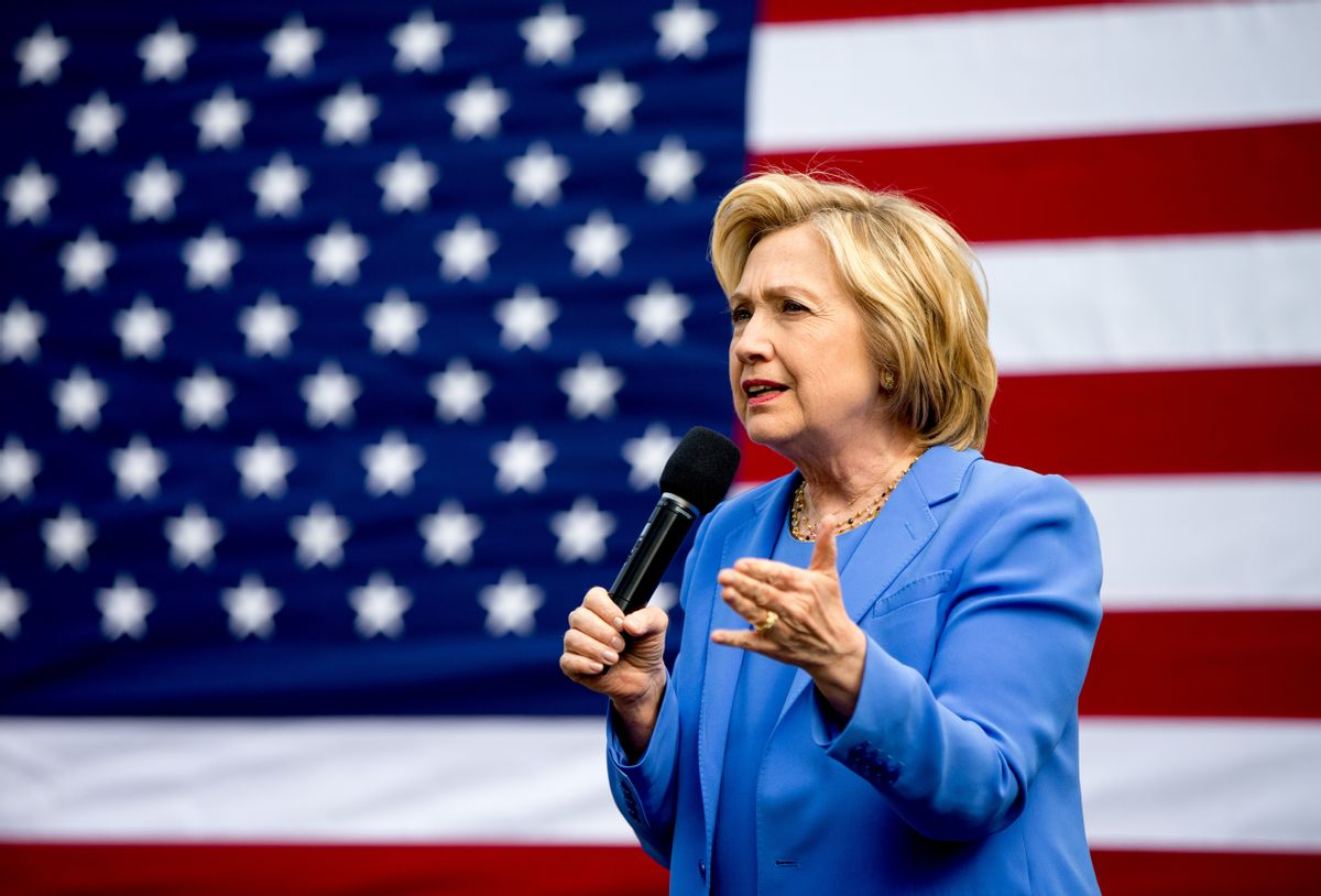 Democratic presidential candidate Hillary Clinton speaks at the home of Nathan Smith during a campaign stop in Fort Mitchell, Ky., Sunday, May 15, 2016. (AP Photo/Andrew Harnik) (AP)
