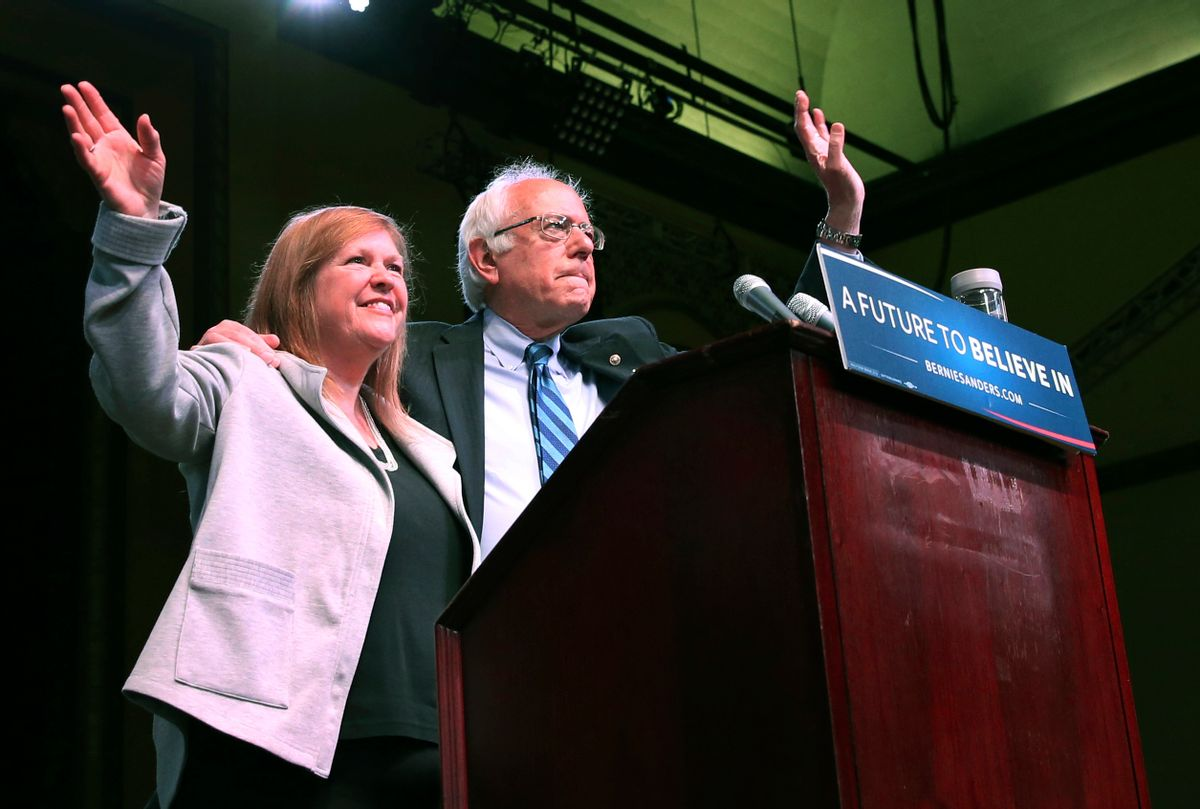 Jane O'Meara Sanders joins her husband, Democratic presidential candidate, Sen. Bernie Sanders, I-Vt., at a campaign rally, Monday, May 9, 2016, in Atlantic City, N.J. (AP Photo/Mel Evans) (AP)