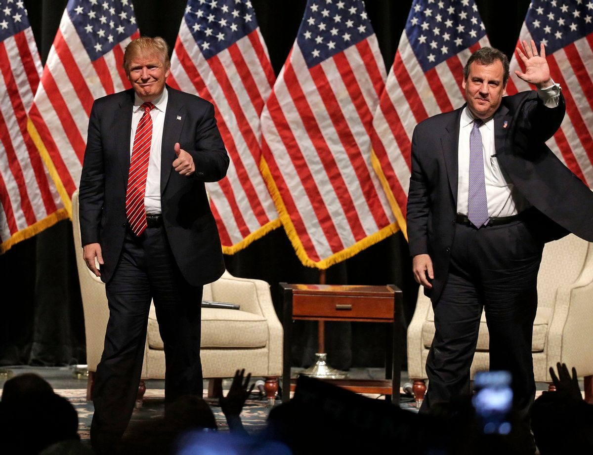 FILE - In this March 14, 2016 file photo, Republican presidential candidate Donald Trump gives a thumbs up as New Jersey Gov. Chris Christie waves to the crowd as they walk off the stage after a rally at Lenoir-Rhyne University in Hickory, N.C.  Christie's decision to endorse Donald Trump back in February brought him plenty of derision at the time. But it's bringing rewards now that it's clear he bet on the winner. (AP Photo/Chuck Burton, File) (AP Photo/Chuck Burton, File)