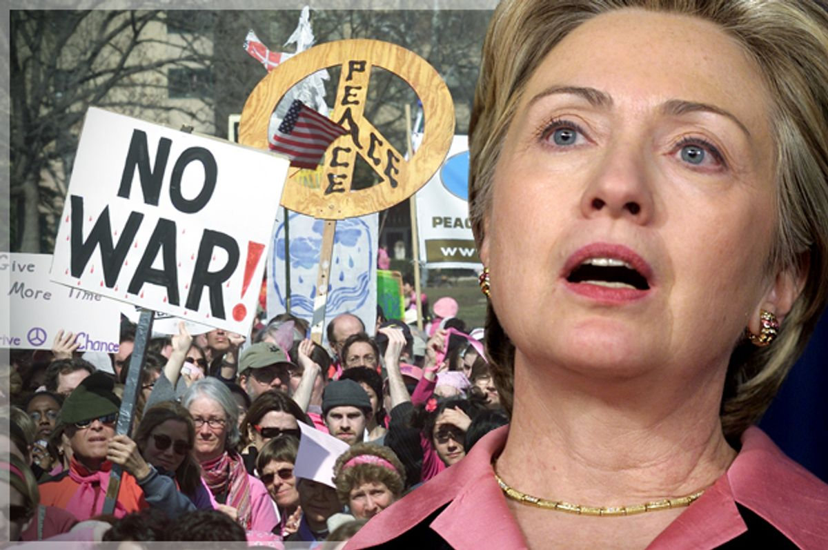 A Hillary Clinton supporter inspired a Twitter comedian to take shots at pundits over the Iraq War (AP/Terry Ashe/Reuters/Brendan McDermid/Photo montage by Salon)
