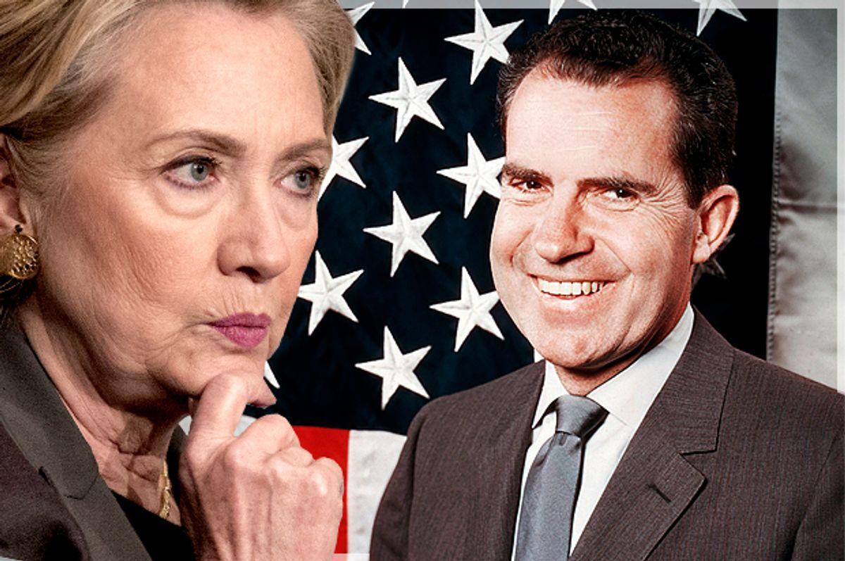Hillary Clinton, Richard Nixon (Reuters/Andrew Kelly/AP/Photo montage by Salon)
