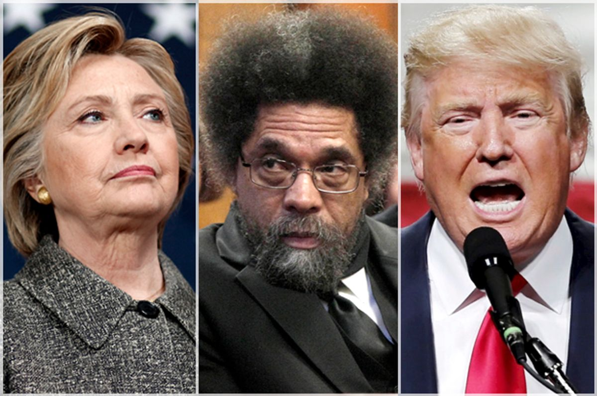 Hillary Clinton, Cornel West, Donald Trump   (AP/Reuters/Patrick Semansky/Richard Drew/Eduardo Munoz)