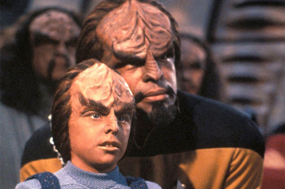 "Michael Dorn and Brian Bonsall in ""Star Trek: The Next Generation""   (CBS)"