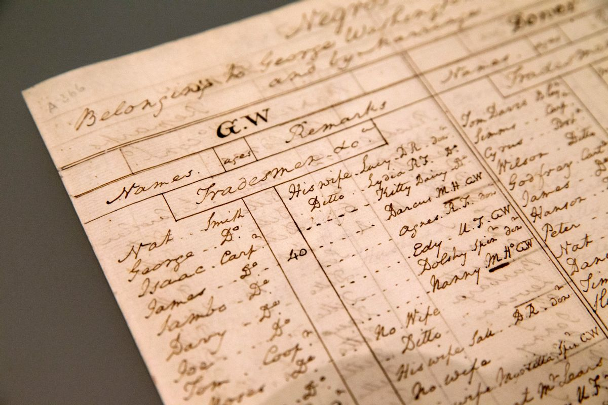 In this May 19, 2016, photo, a list of slaves at Mount Vernon written by George Washington around 1799 details marriages, children, and notes on individuals, is seen at the Fred W. Smith National Library for the Study of George Washington in Mount Vernon, Va. George Washington's Mount Vernon estate is turning a museum space previously dedicated to the Founding Father's furniture and fineries into an exhibit that takes a hard look at Washington's life as a slave owner.  (AP Photo/Jacquelyn Martin) (AP)