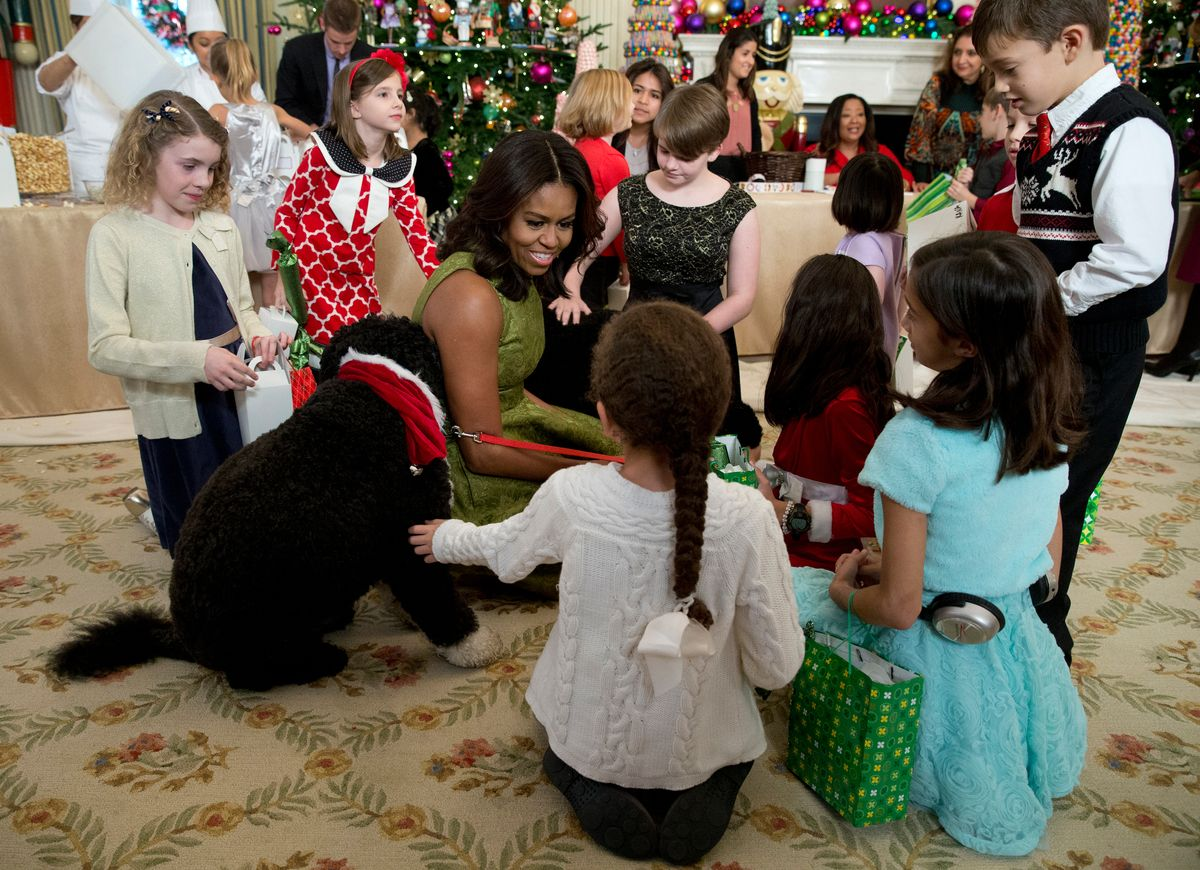 FILE - In this Dec. 2, 2015, file photo, first lady Michelle Obama with dogs Bo, left, and Sunny, behind at right, are surrounded by children in the State Dining Room of the White House in Washington. (AP)