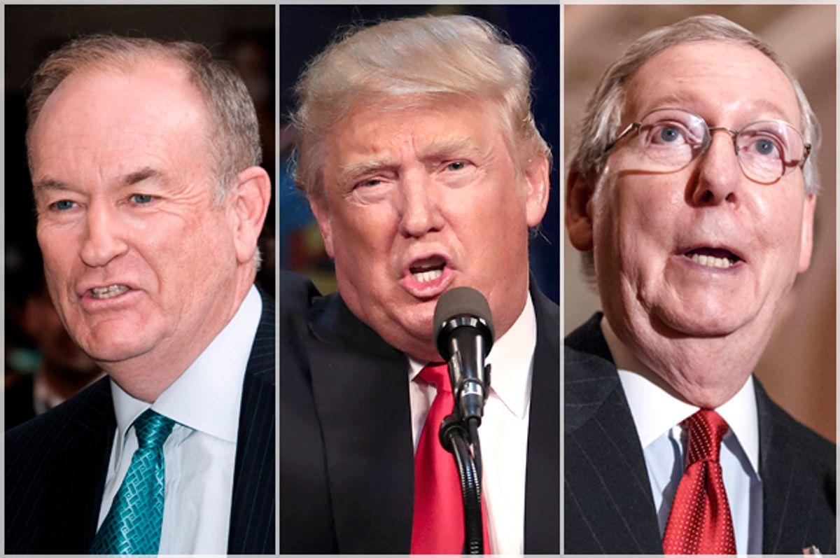 Bill O'Reilly, Donald Trump, Mitch McConnell   (AP/Reuters/Charles Sykes/Carlo Allegri/J. Scott Applewhite)