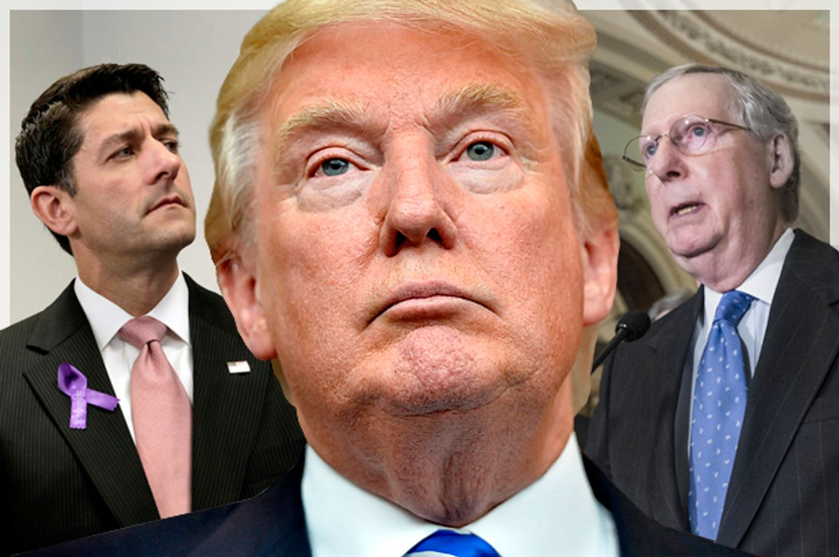 Paul Ryan, Donald Trump, Mitch McConnell   (AP/Reuters/Yuri Gripas/Richard Shiro/J. Scott Applewhite/Photo montage by Salon)