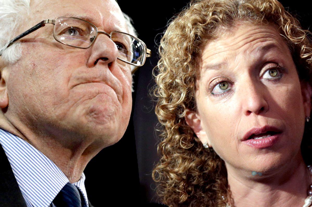 Bernie Sanders, Debbie Wasserman Schultz   (AP/Jeff Roberson/Lynne Sladky/Photo montage by Salon)