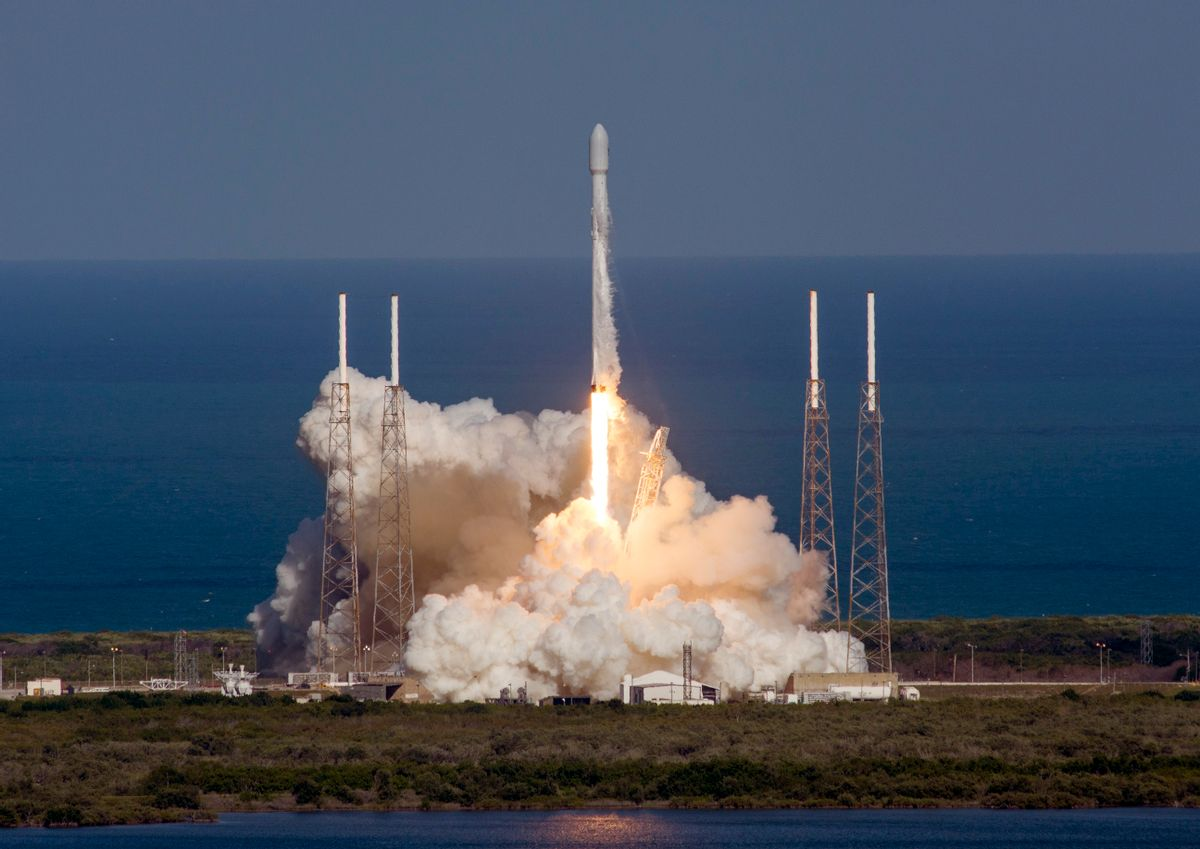 In this image released by SpaceX, an unmanned Falcon rocket lifts off from from Cape Canaveral Air Force Station, Friday, May 27, 2016, in Cape Canaveral, Fla. The first stage of the unmanned Falcon rocket settled onto a barge 400 miles off the Florida coast, eight minutes after liftoff, It's the third successful booster landing at sea for the California-based SpaceX. This one came after the rocket launched an Asian communications satellite. (SpaceX via AP) (AP)