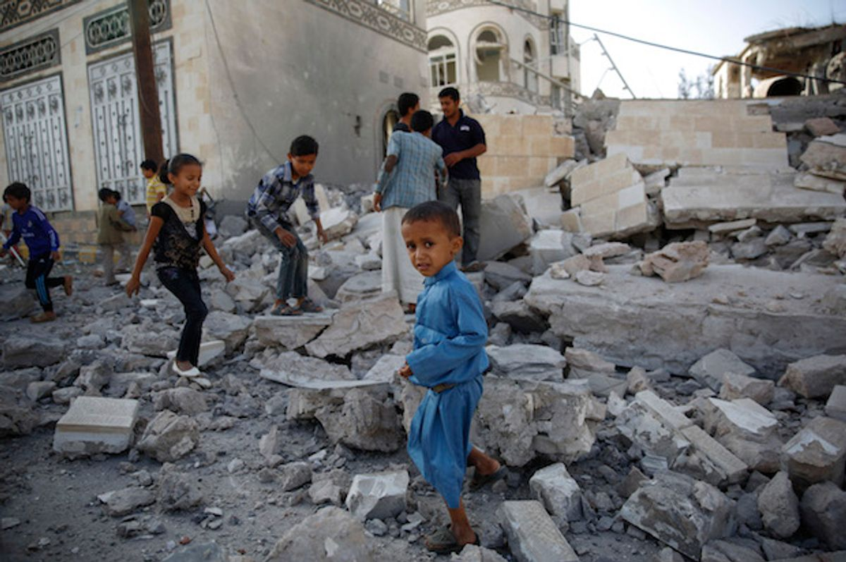 Yemeni children play in the rubble of a house destroyed by a Saudi-led airstrike in Sanaa, Yemen on Sept. 8, 2015  (AP/Hani Mohammed)